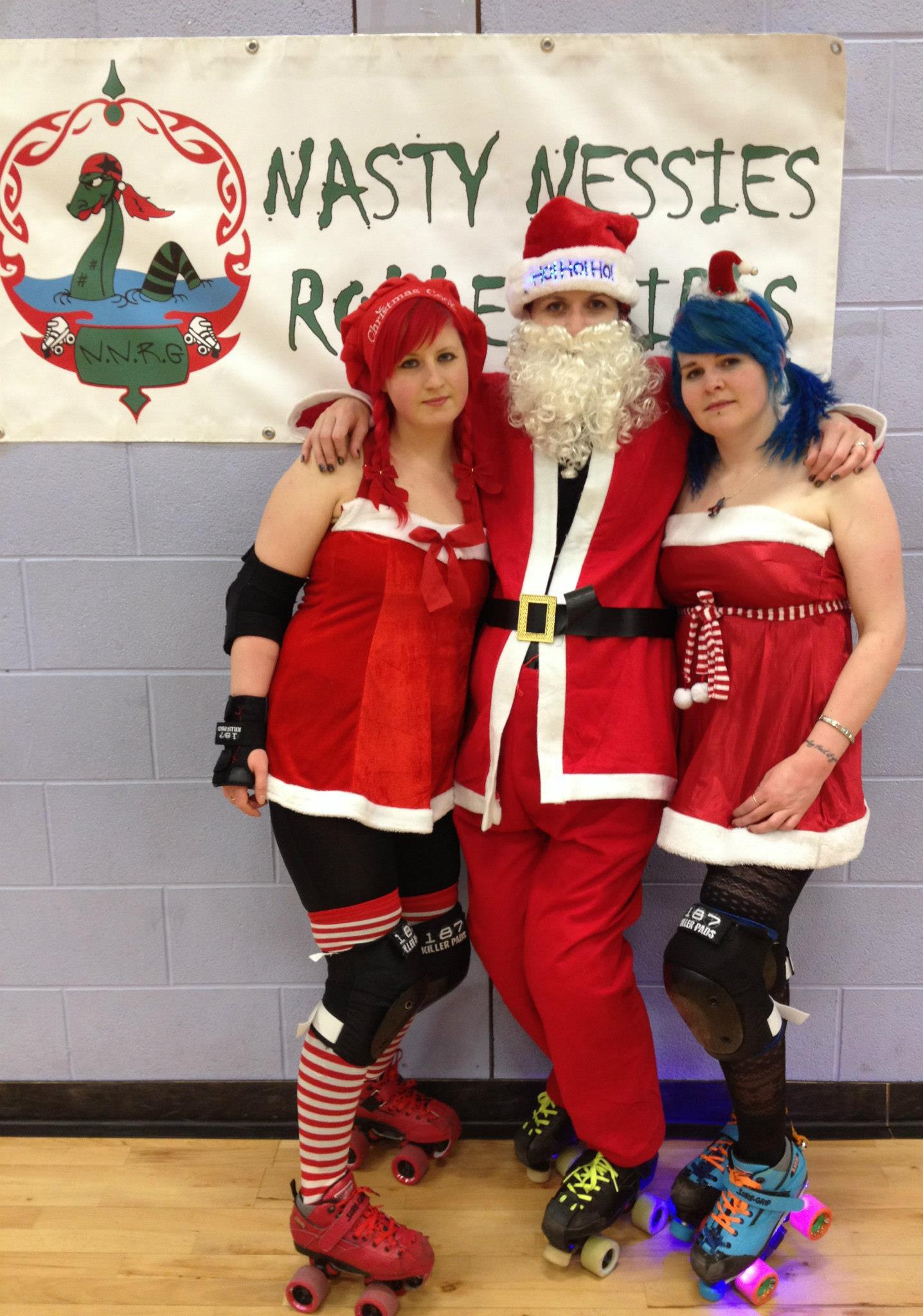 Nat-orious Red, Santa, and Irn Bruzer at the Nessies' Christmas skate.