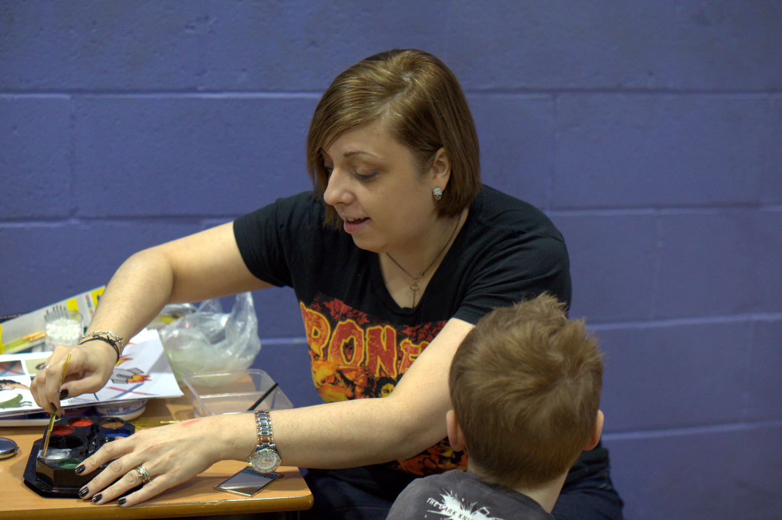 Facepainting at the first Glasgow Roller Derby Home Season of the year.