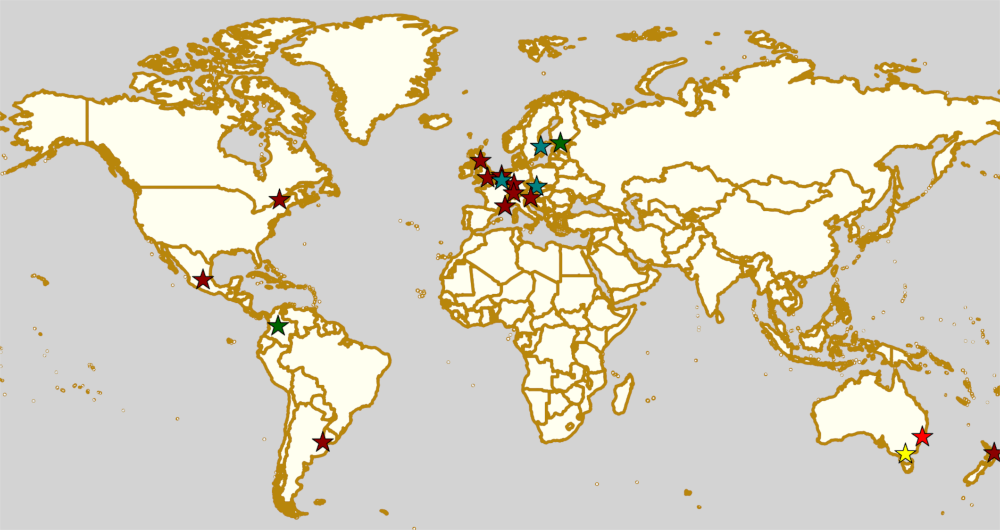 Map of all events (coded by type)