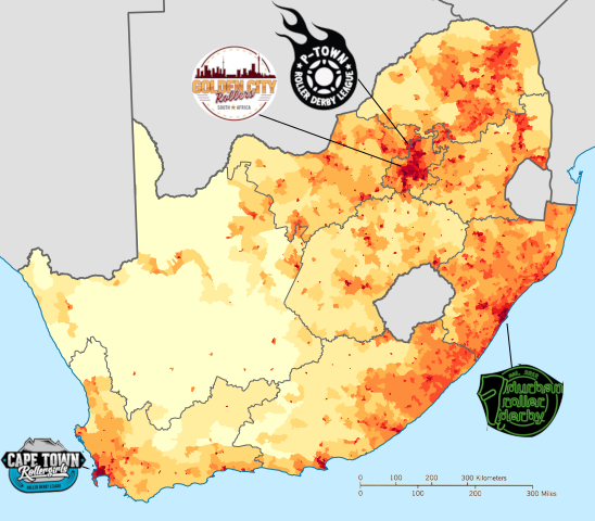 Map of South Africa's Population density, with leagues marked.