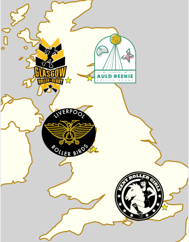 Map of the UK, showing the 4 teams at Chaos on the Clyde 2, and their logos.