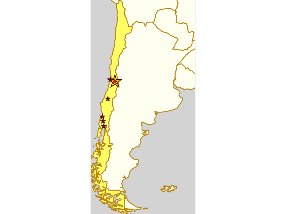 map of Chile with teams competing in the two playoffs for Torneo X 2019