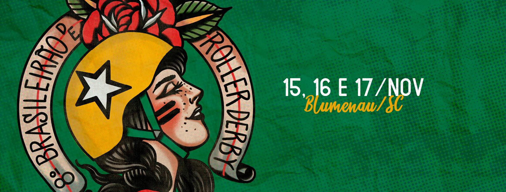 "the 8th Brasileirão flyer: green patterned background with Brasilian skater shown facing right in profile (head only), wearing helmet with yellow jammer cover and white star. Her head is tilted slightly up, and she has a mildly anticipatory expression, with eyes half closed. Above the head, and half obscured by it, a red flower with green leaves. Around the head in a 3/4s halo, a scroll reading ""8º Brasileirão de Roller Derby""."