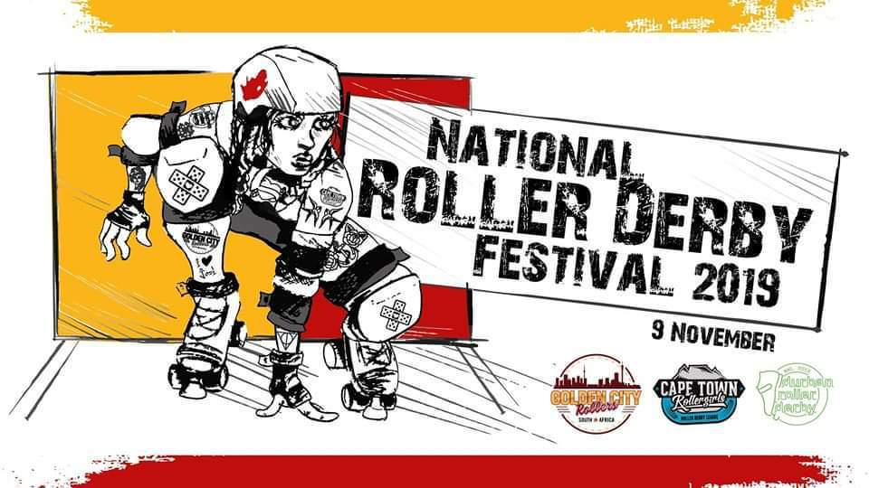 "The flyer image for this National Derby Fest: crouched jammer ready to sprint at start of whistle (in black and white, with red star), against horizontally divided yellow and red background box; yellow bar at top of flyer, red at bottom. Second box (positioned ""on top"" of the background, but ""behind"" the skater) reads ""National Roller Derby Festival 2019"". The logos of all three leagues with full teams are aligned along the bottom of the flyer."