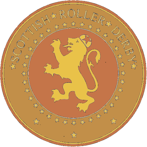 "The SRDB Award Logo: the Scottish Roller Derby Blog Logo (concentric circles, outer circle containing words ""Scottish Roller Derby"" all-capitals, separated by five-pointed stars, and an inner ring of stars just outside the boundary of the inner circle; inner circle containing a modification of the ""lion of scotland"", a heraldic lion, facing right, rampant, with a jammer cover on its head), but with a gold/bronze colour scheme applied."
