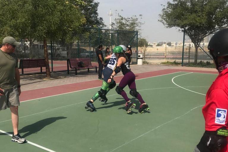UAE Roller Derby All-Stars practising on the Short Track [courtesy of UAE All-Stars]